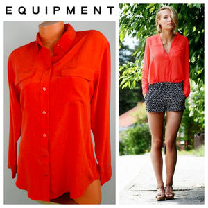 EQUIPMENT Femme SHIRT BLOUSE Small SILK Orange
